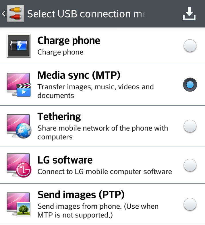 enable android mtp mode