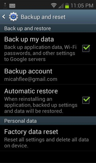 backup android with google