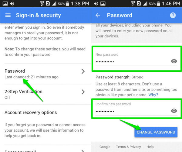 change my google account password android