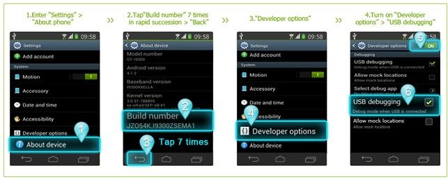 enable usb debugging for android 4.3