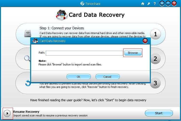 recover card data