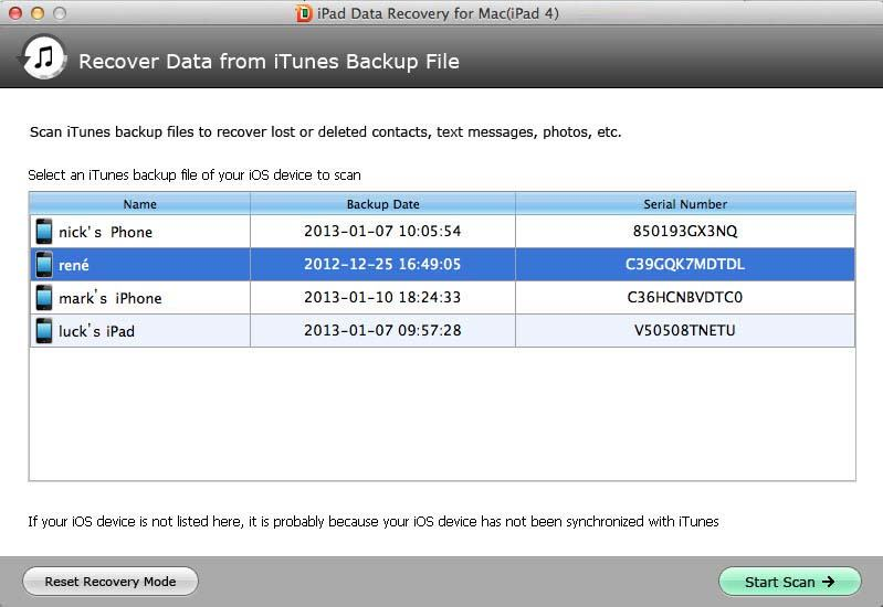 iPad Data Recovery for Mac